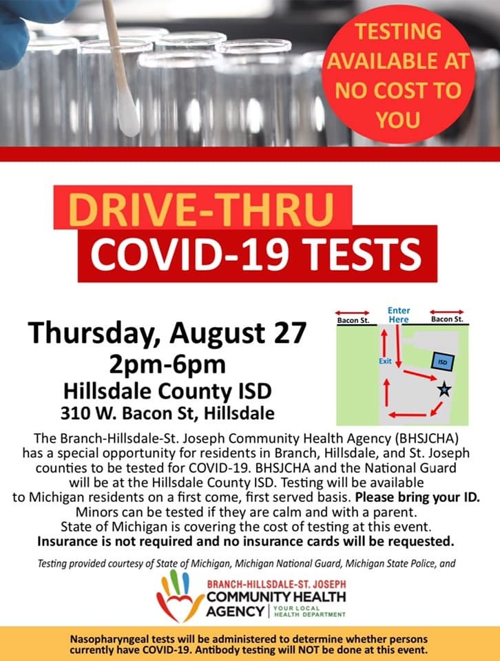 Drive-Thru COVID Tests on August 27 from 2pm-6pm.